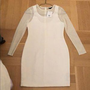 White sheer long sleeve Topshop US 8 dress